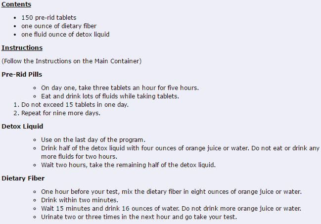 instructions of how to take 10 day toxin rid pills day to day